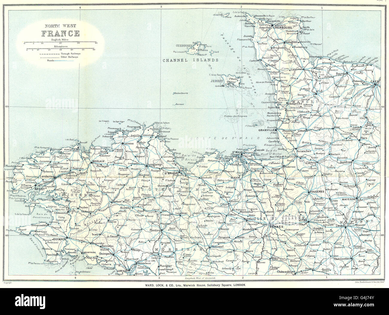 Map Of Northwest France.North West France Normandy Brittany Channel Islands Ward Lock