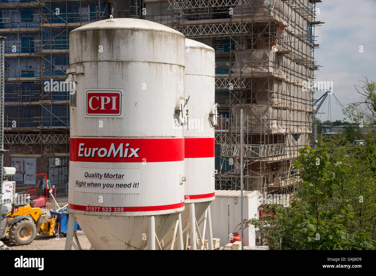 City centre regeneration and view over building site with 2 large dry mortar silos - Hungate, York, North Yorkshire, Stock Photo