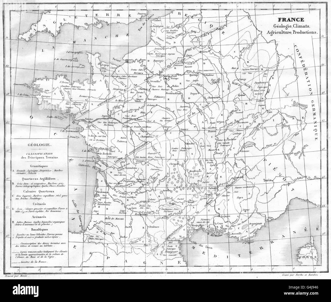 FRANCE: France Géologie, climats, Agriculture productions, 1835 antique map - Stock Image