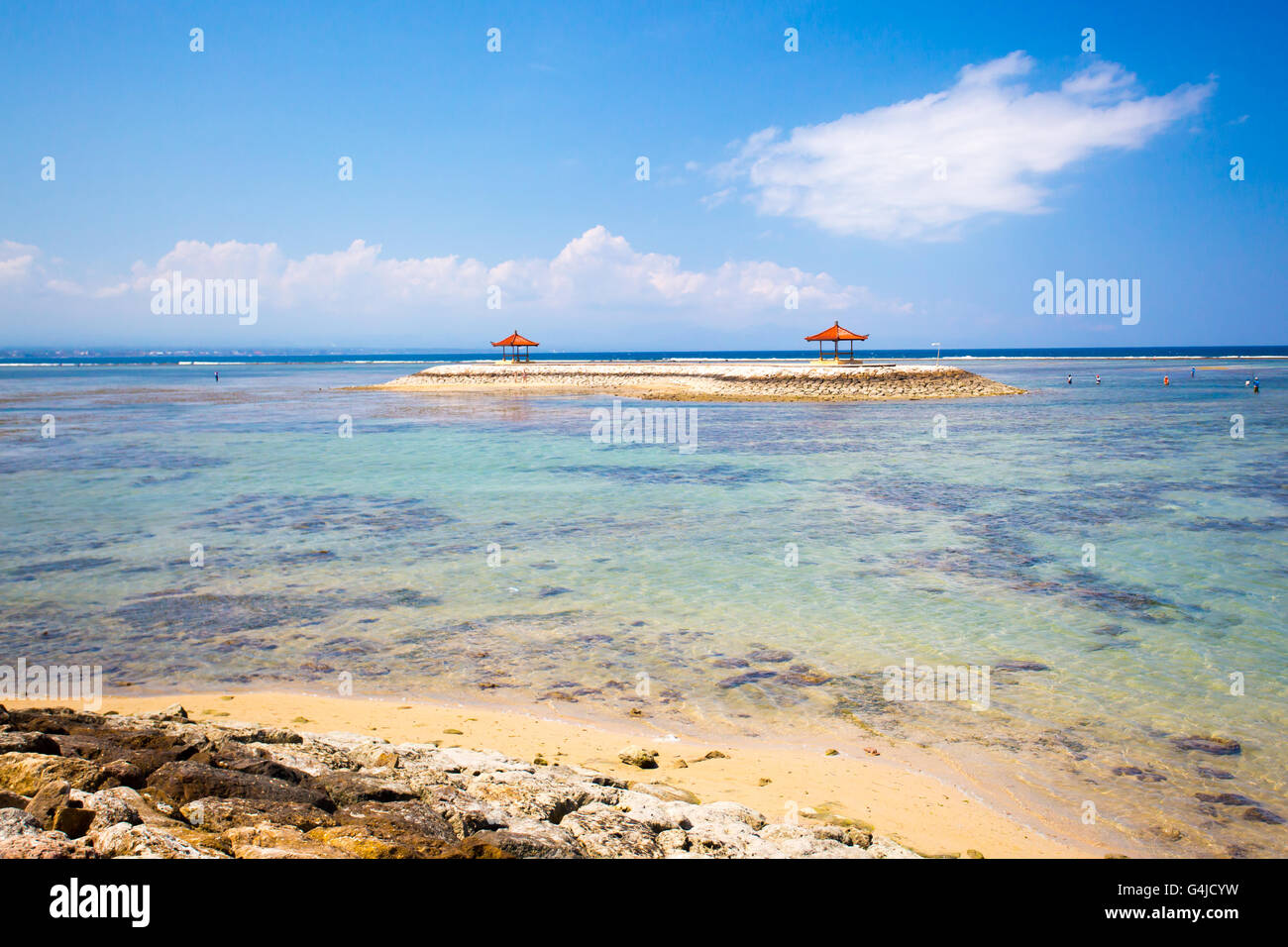 A Sanur beach scene on a hot day in Bali, Indonesia - Stock Image