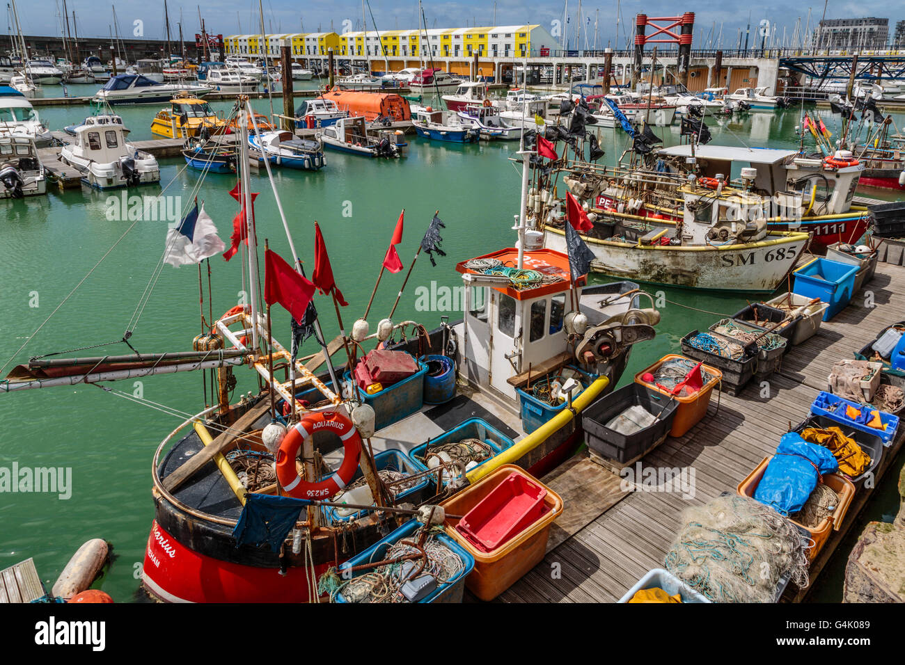 Fishing Boats in Brighton Marina East Sussex UK - Stock Image