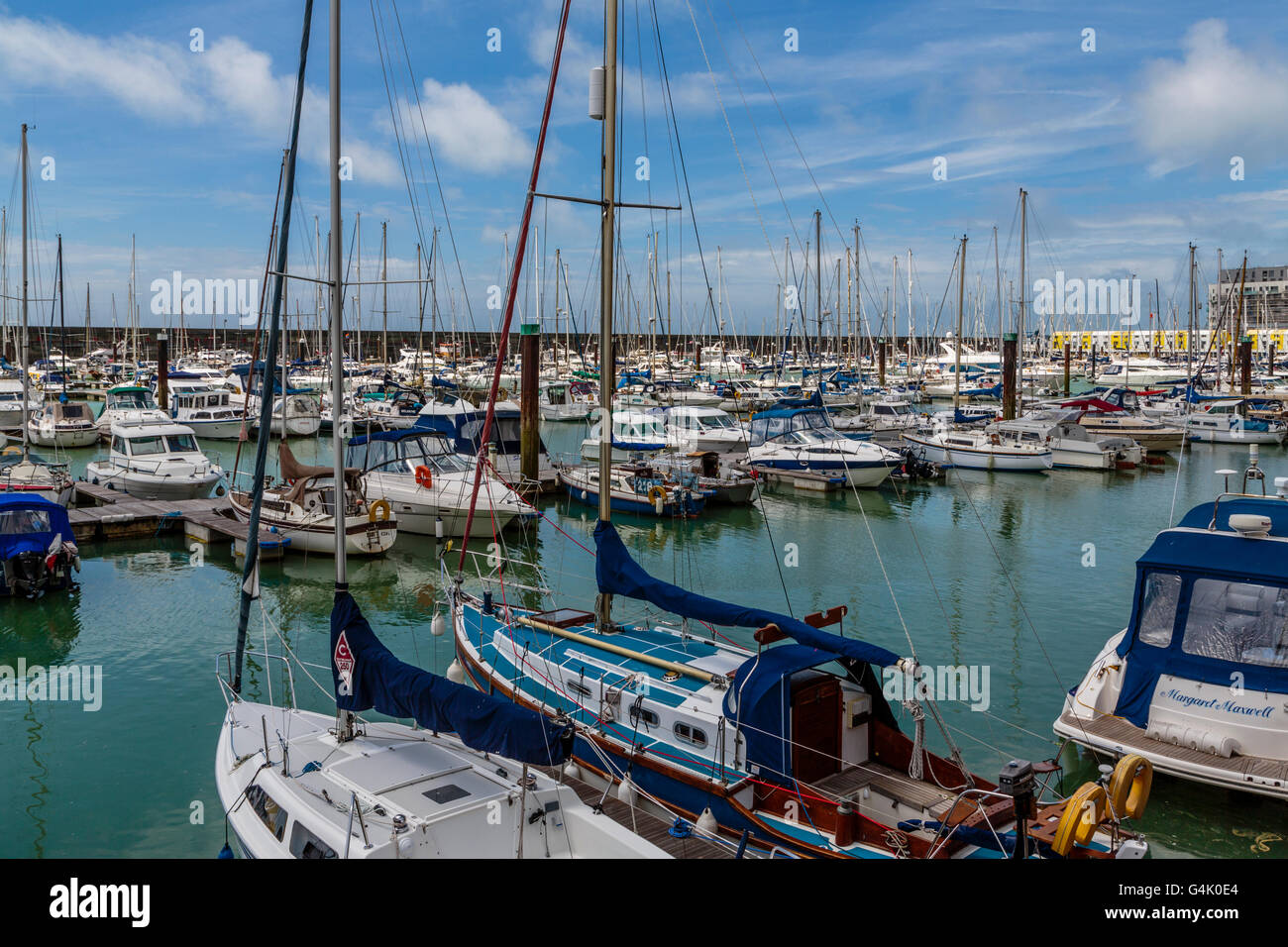 Brighton Marina on the south coast East Sussex England UK,  year round marina for all types of sailing vessels - Stock Image