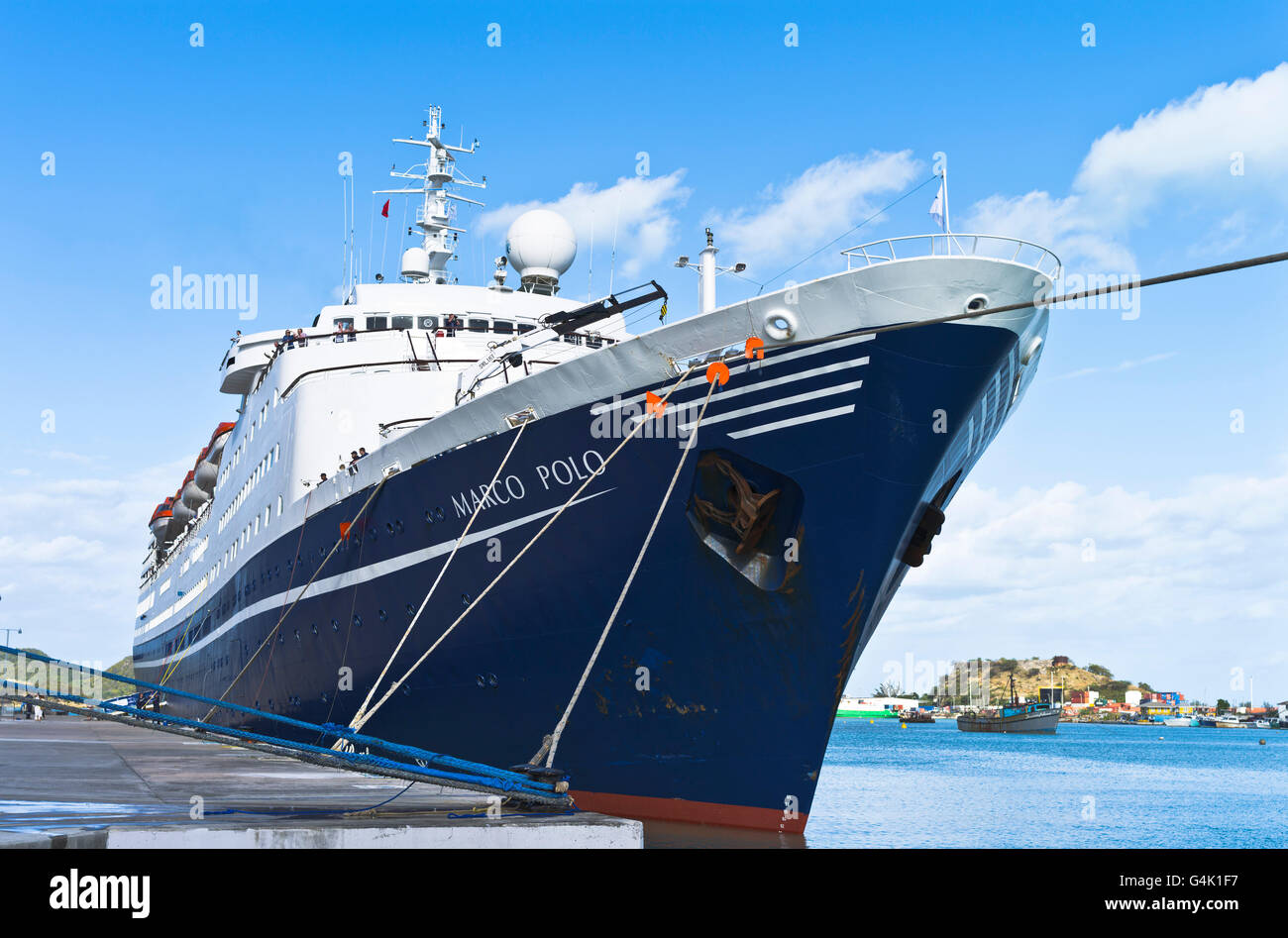 dh  CRUISE SHIPS CARIBBEAN CMV Marco Polo cruise ship bow berthed in St Johns antigua moored Stock Photo