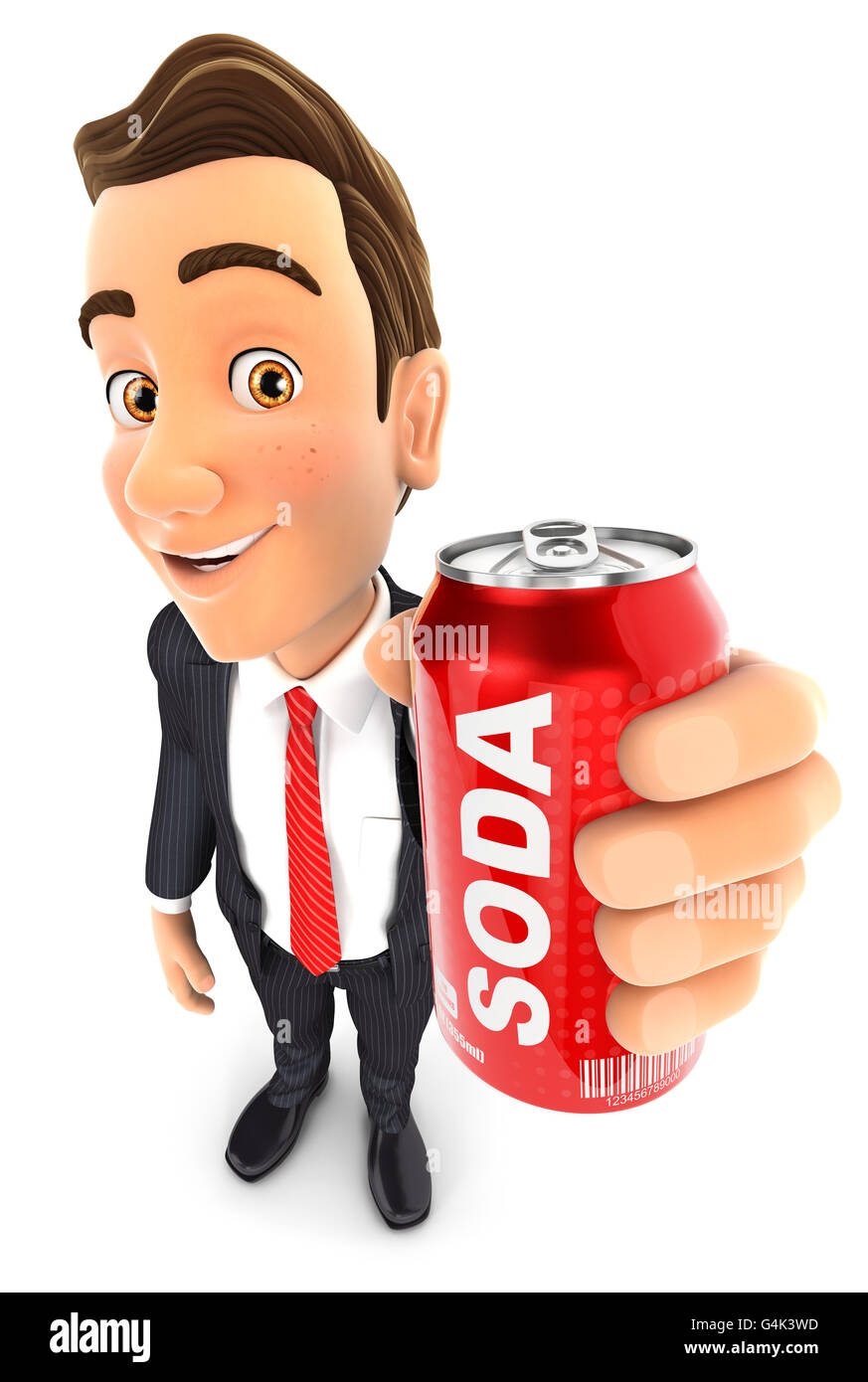 3d businessman holding soda can, illustration with isolated white background Stock Photo