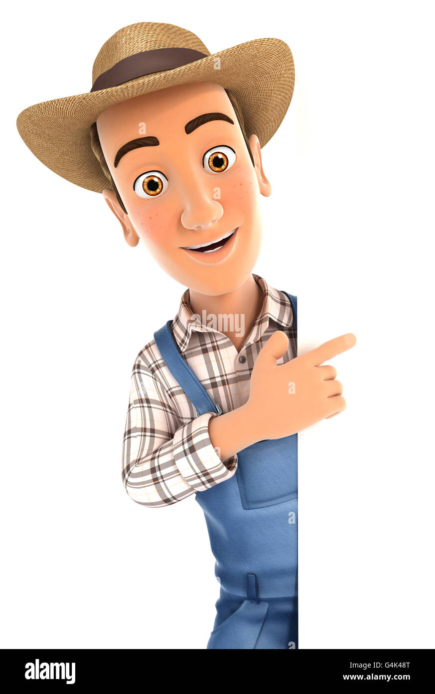 3d farmer pointing to right blank wall, illustration with isolated white background Stock Photo