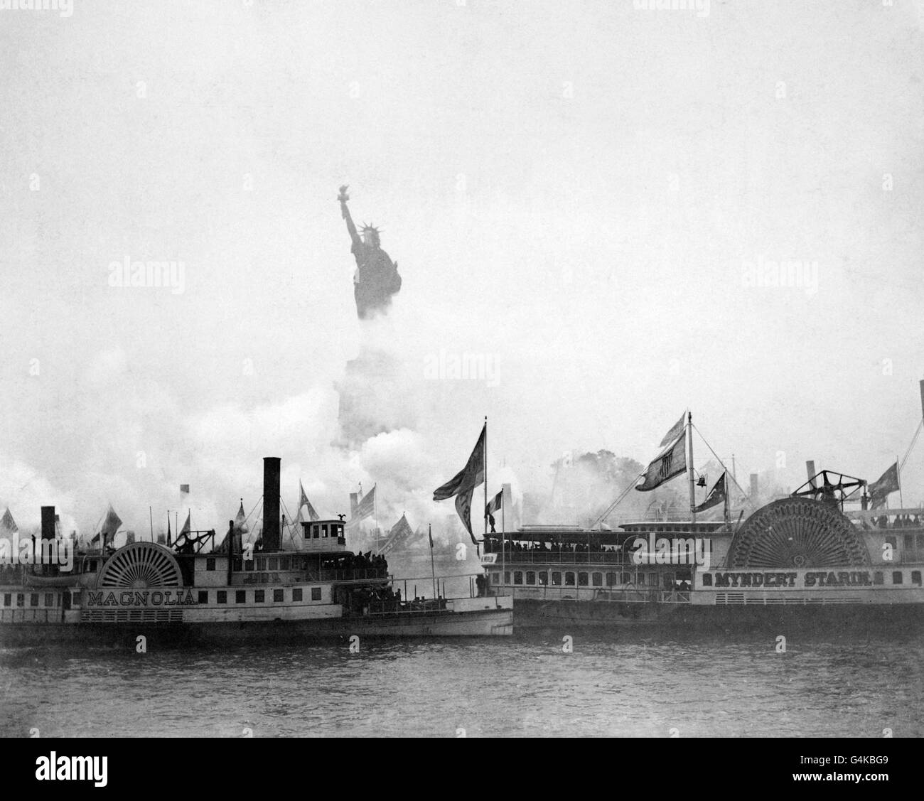 Statue of Liberty, 1886. Inauguration of the The Statue of Liberty on 28th October 1886 - Stock Image