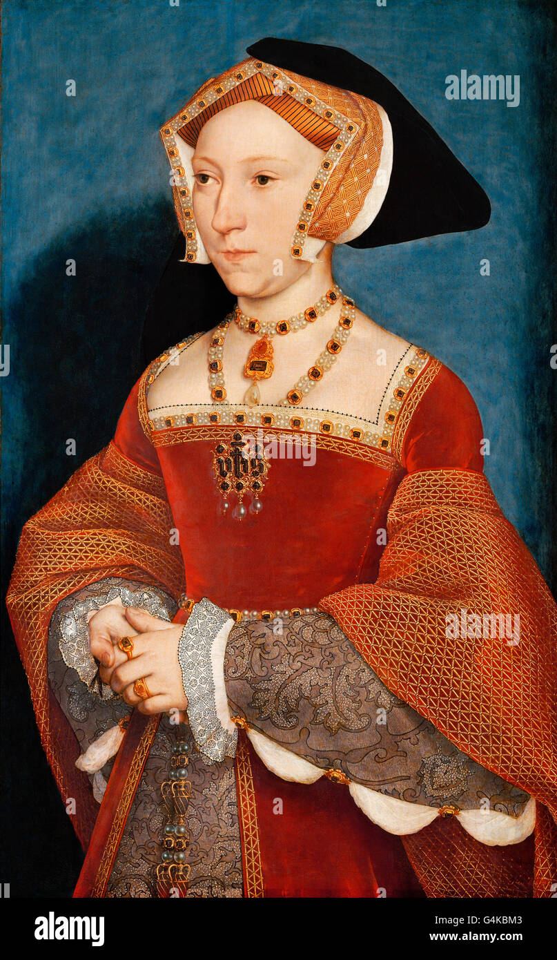 Jane Seymour. Portrait of Jane Seymour (1508-1537), third wife of King Henry VIII of England, by Hans Holbein the - Stock Image