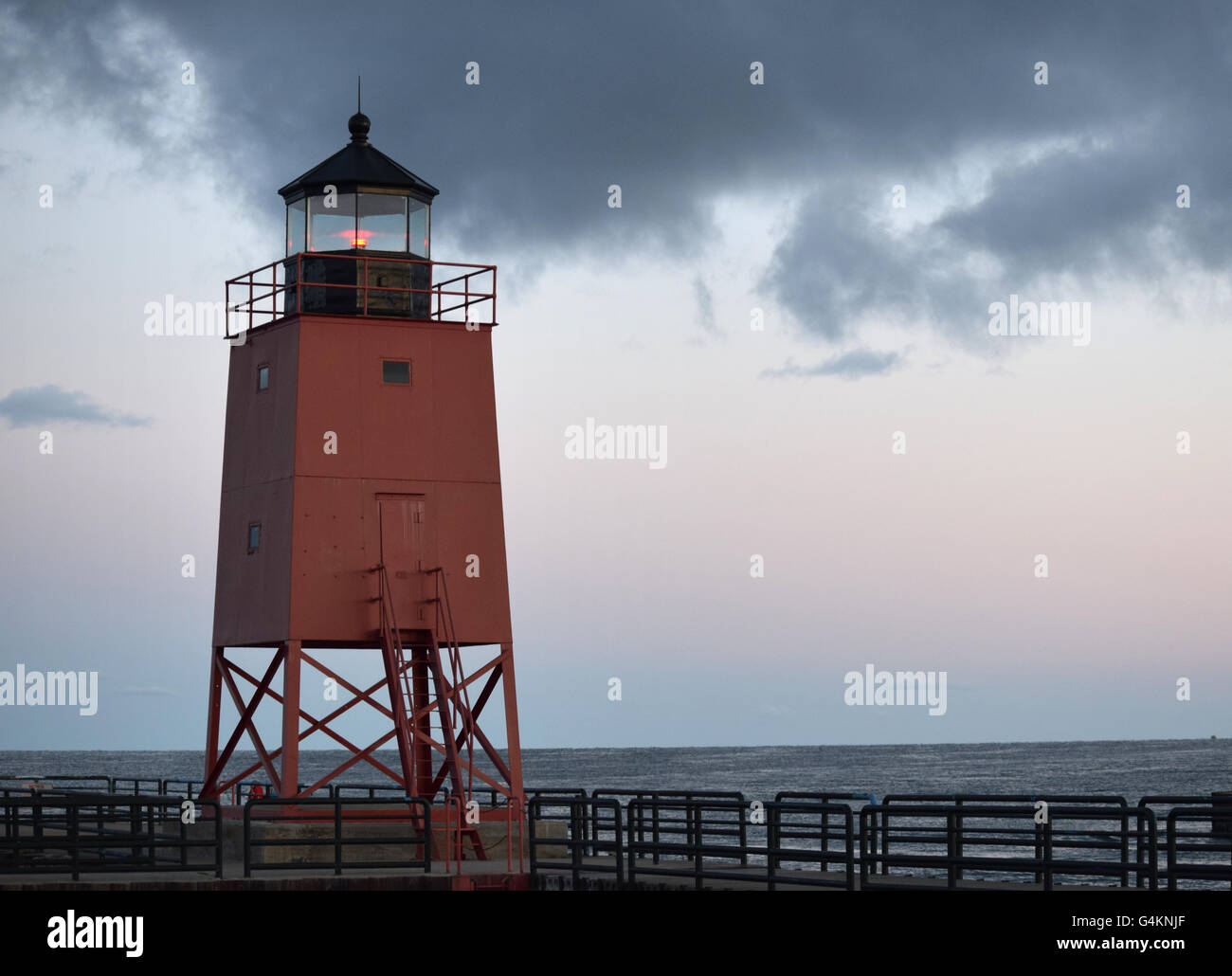 Charlevoix Lighthouse while Flashing - Stock Image