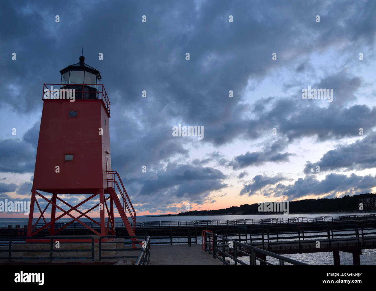 Charlevoix Lighthouse at Sunrise - Stock Image