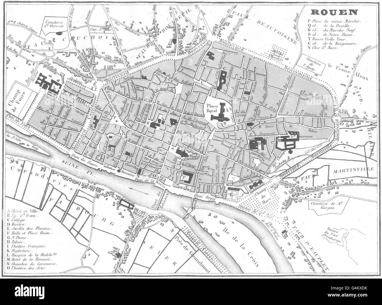 Map Rouen France Black and White Stock Photos & Images - Alamy