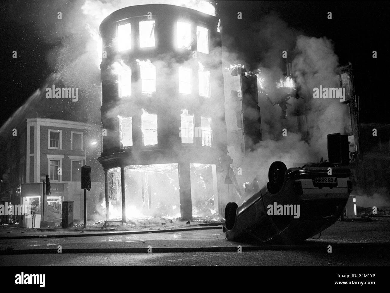 British Crime - Civil Disturbance - The Brixton Riots - London - 1985 - Stock Image