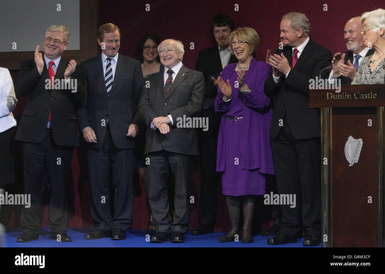 Irelands President Elect Michael D Higgins pictured after his election victory is announced at Dublin Castle . Picture - Stock Image
