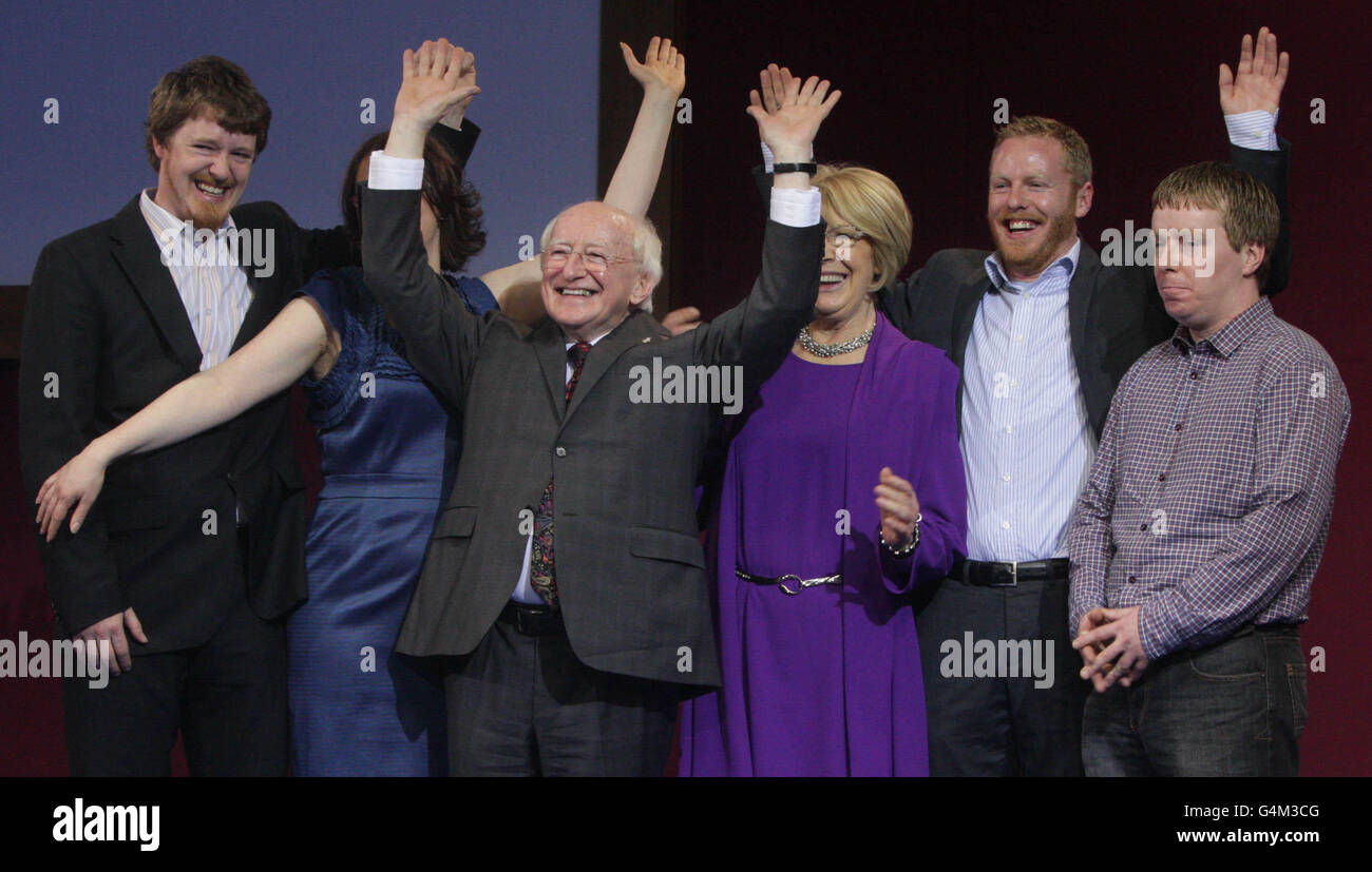Irelands President Elect Michael D Higgins waves after his election victory is announced at Dublin Castle . Picture - Stock Image