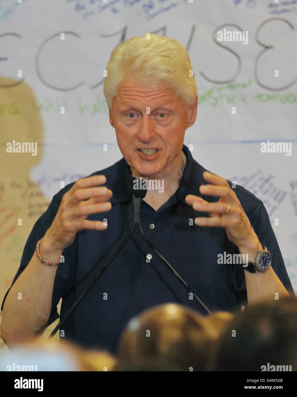 Former President Bill Clinton Speaks at a Hillary Clinton Rally, Woodland Hills, CA Stock Photo
