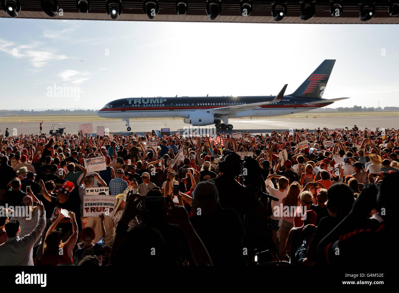 GOP Presidential Candidate Donald Trump Campaigns In Sacramento, California - Stock Image