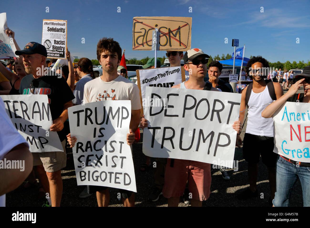 Protestors against Presumptive Republican Presidential Nominee Donald Trump at California Campaign Rally - Stock Image