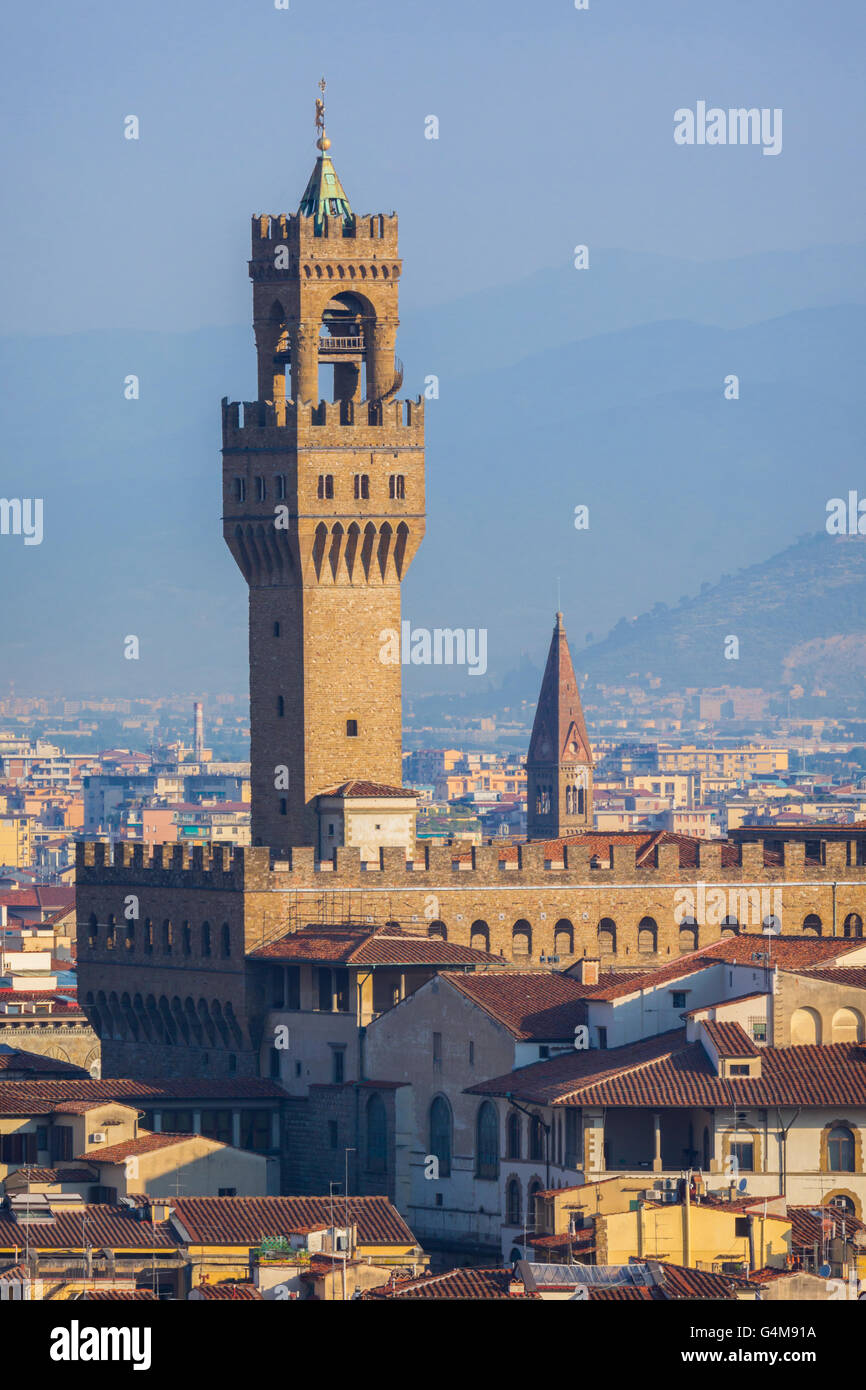 Florence, Tuscany, Italy.  View from Piazzale Michelangelo to the tower of the Palazzo Vecchio. - Stock Image