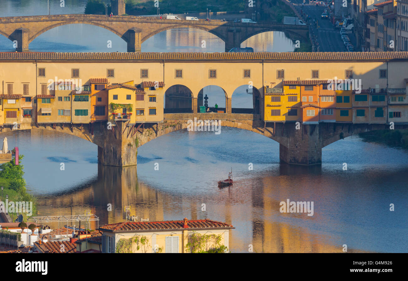 Florence, Florence Province, Tuscany, Italy.  View from Piazzale Michelangelo to bridges across Arno river. - Stock Image