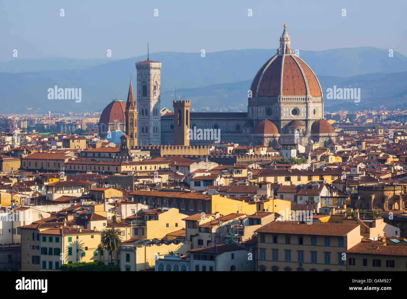 Florence, Tuscany, Italy.  View over the city to the Duomo - Cattedrale di Santa Maria del Fiore - Stock Image