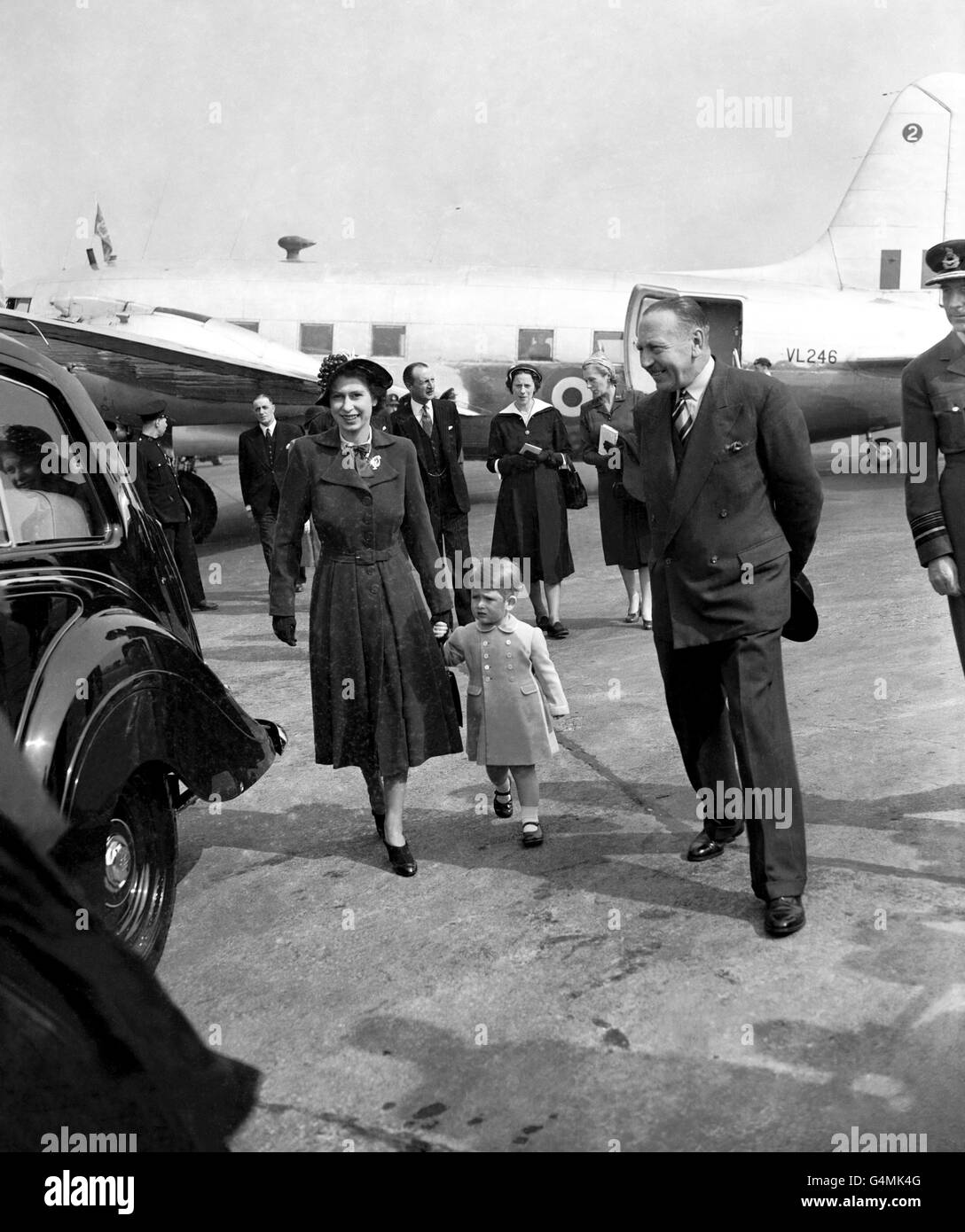 Royalty - Princess Elizabeth and Prince Charles - Heathrow Airport - Stock Image