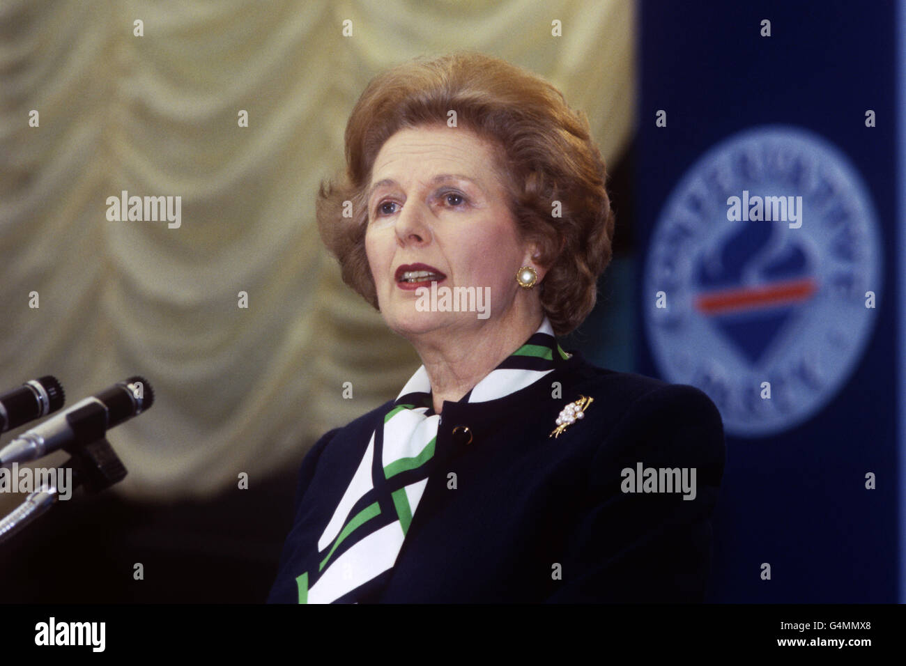 Politics - Margaret Thatcher - Keynote Speech - Annual Conservative Central Council Conference - Torquay - Stock Image