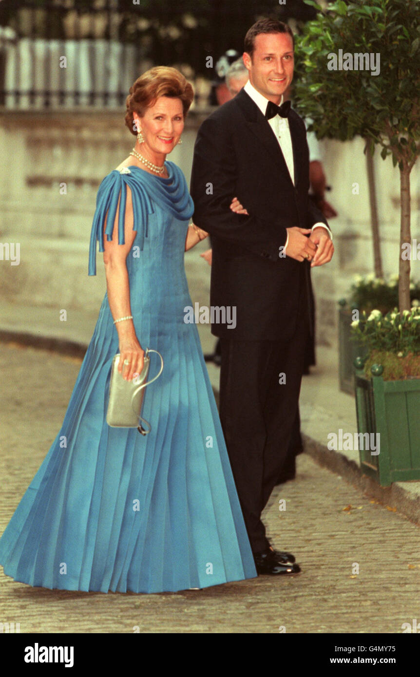 Queen Sonja of Norway and Prince Haakon arrive for a gala ball held ...
