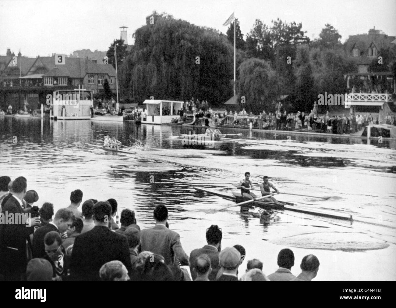 1948 London Olympic Games - Rowing - Men's Coxless Pairs - Henley Royal Regatta - Stock Image