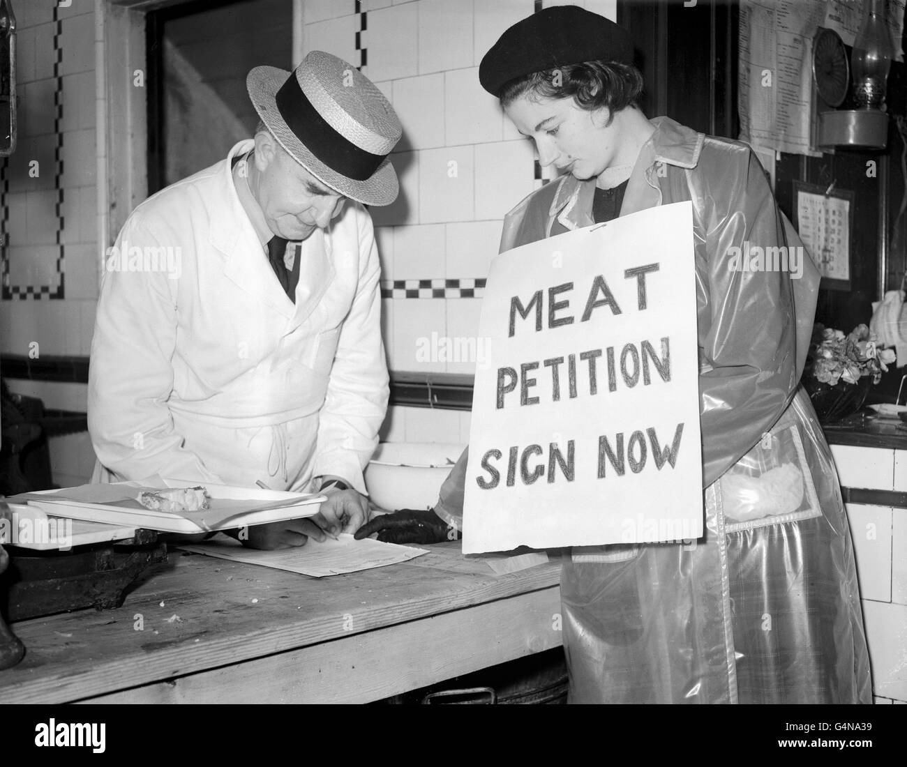 Food - Meat Petition - London - Stock Image