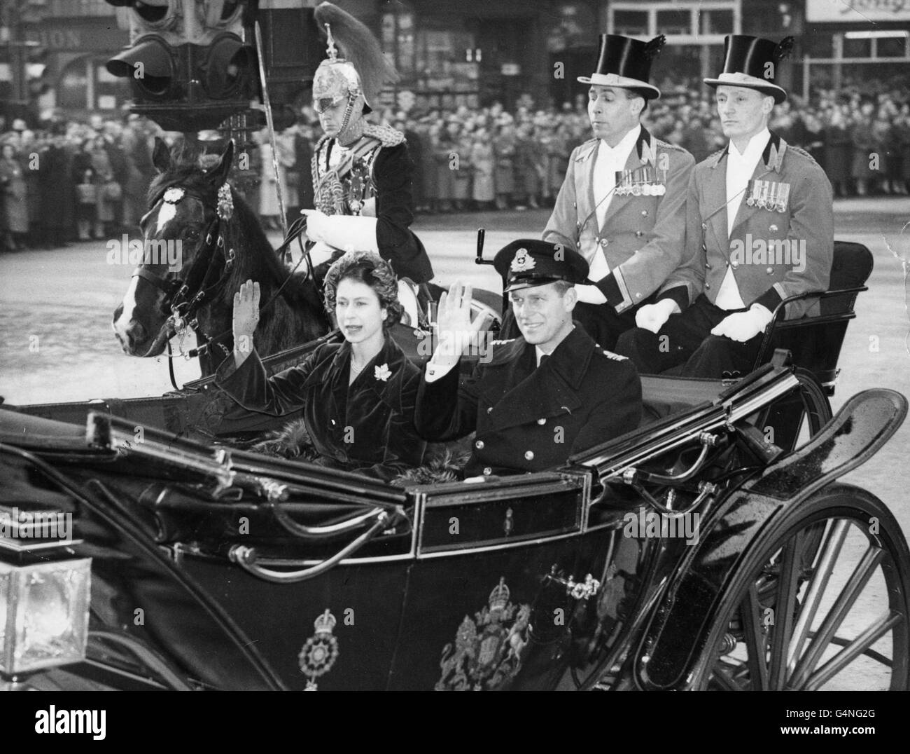 Royalty - Princess Elizabeth and the Duke of Edinburgh - Guildhall, London - Stock Image