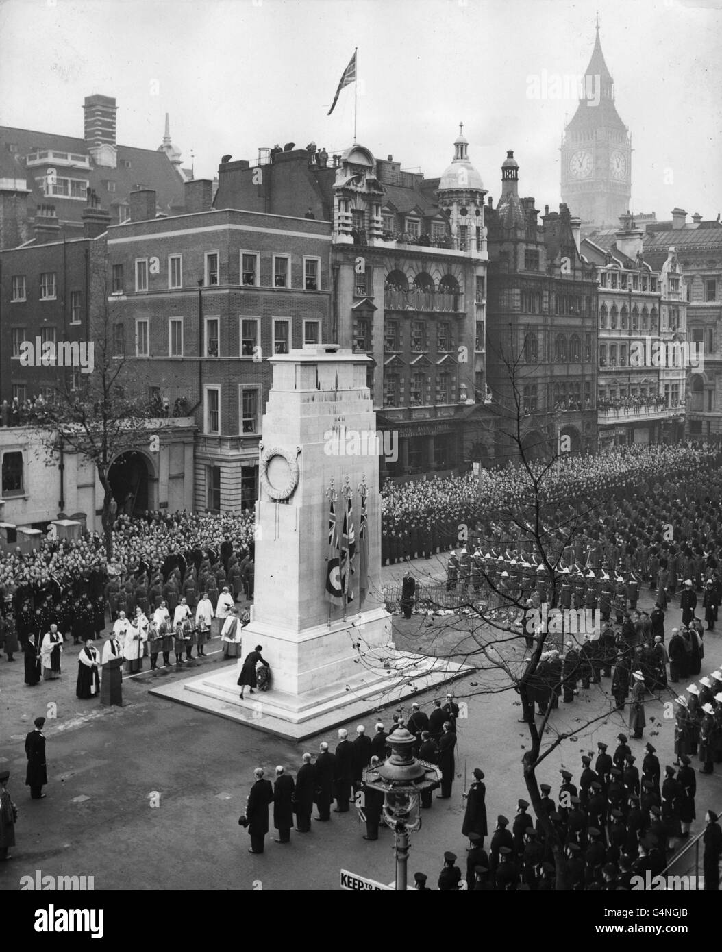 Royalty - Remembrance Sunday - Cenotaph - Whitehall, London - Stock Image