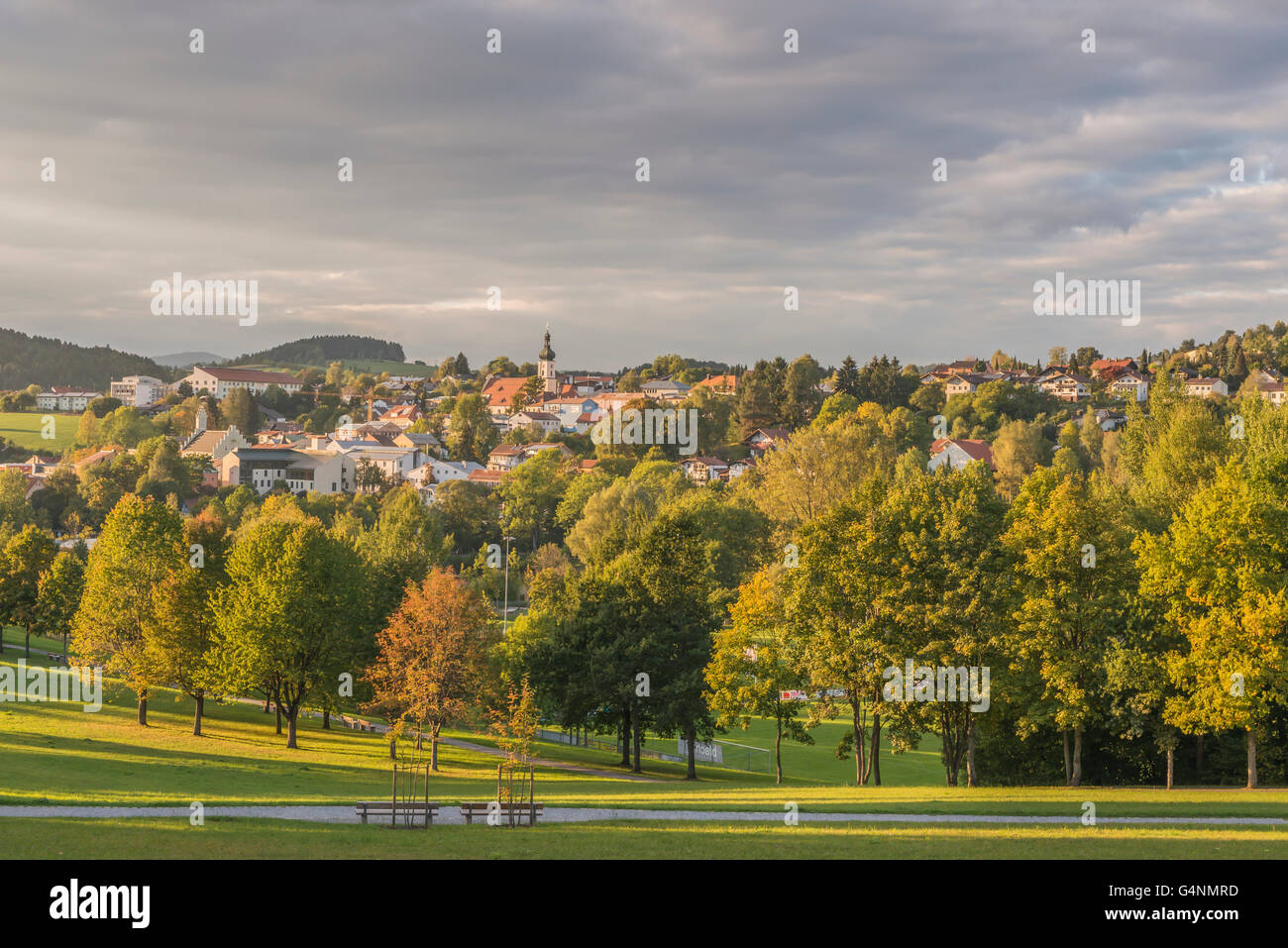 View from the spa garden to Grafenau in the Bavarian Forest - Stock Image