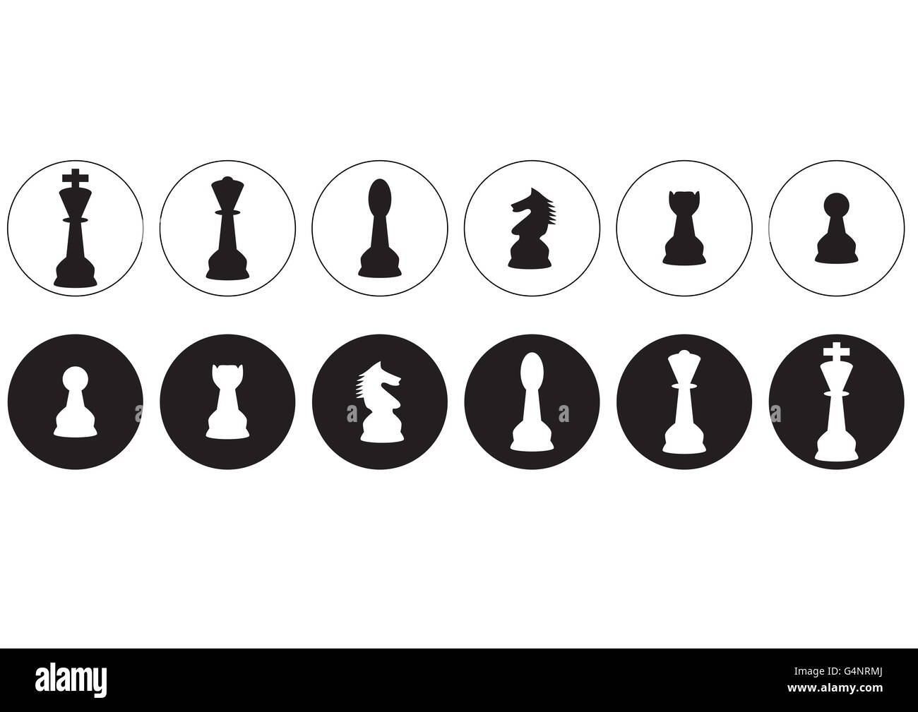 vector silhouettes of a set of standard chess pieces icons - Stock Image