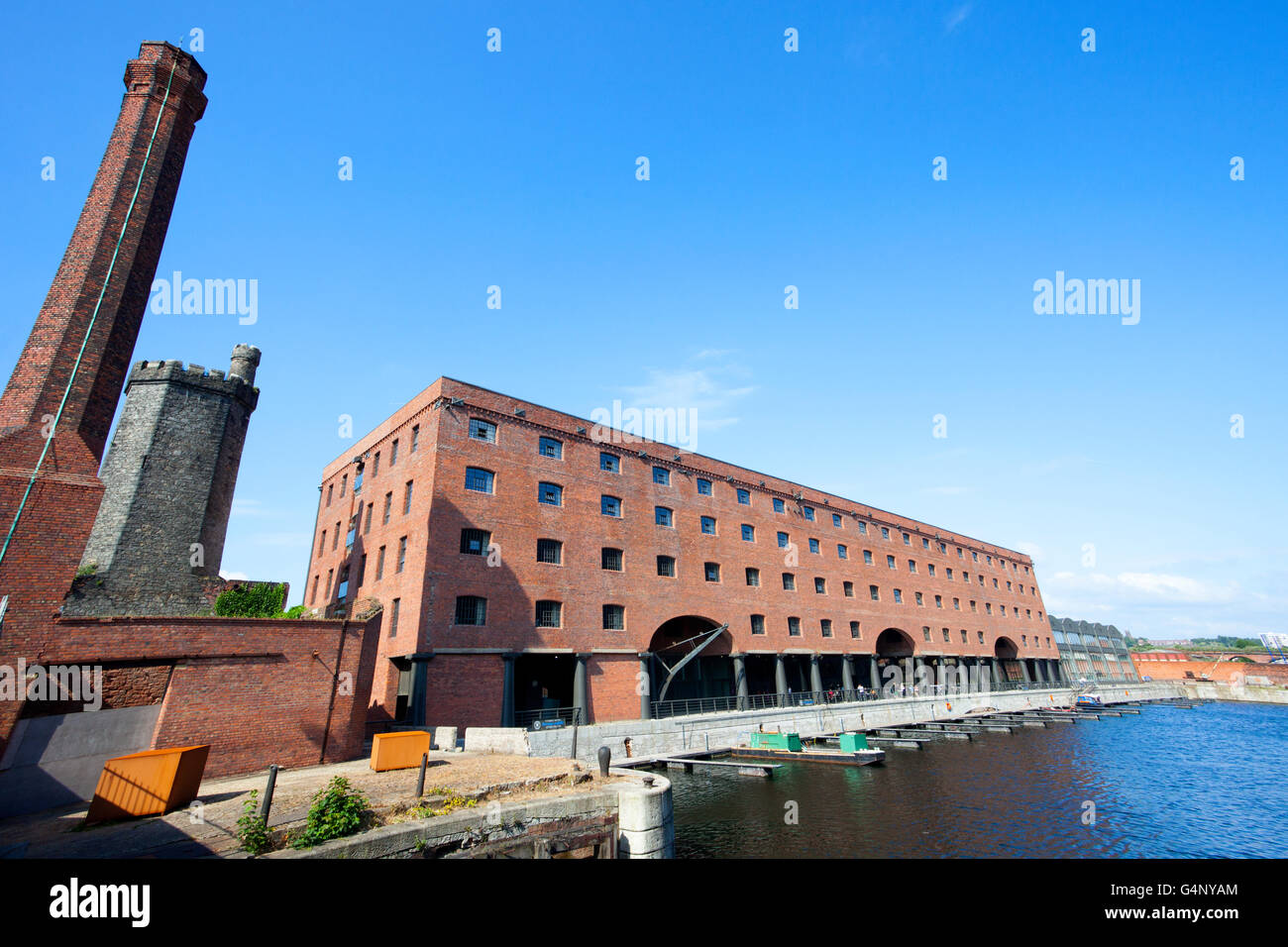 Titanic hotel in a converted 19th-century warehouse, Part of the redevelopment of the historic Stanley Dock complex, Stock Photo