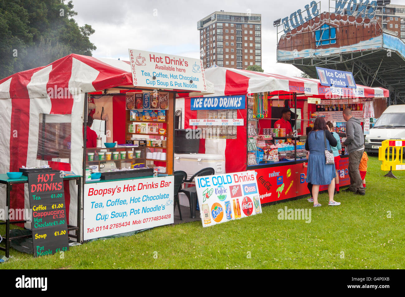 Food stall vans, Ice cold & Hot drinks at the Africa Oye festival in Sefton Park, Liverpool, Merseyside, UK - Stock Image