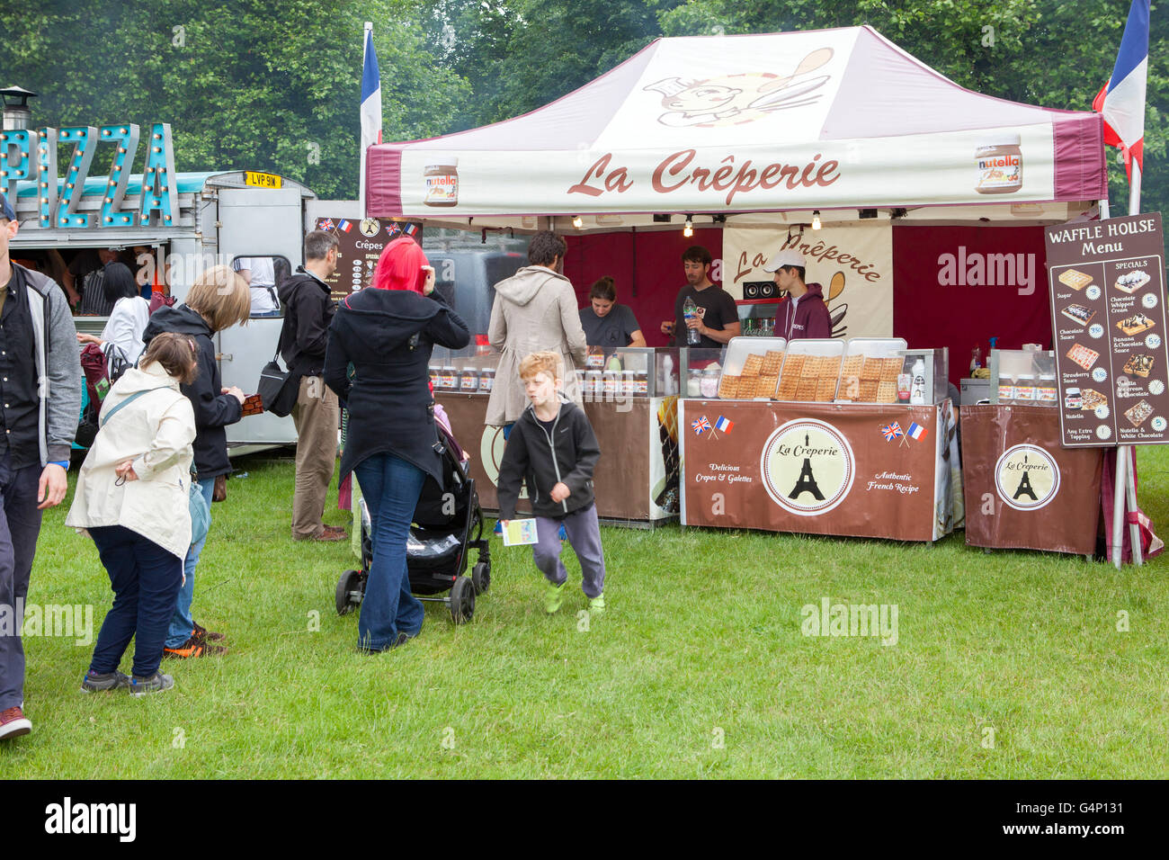 La  Creperie & waffle house,  Food stall vans at the Africa Oye festival in Sefton Park, Liverpool, Merseyside, - Stock Image