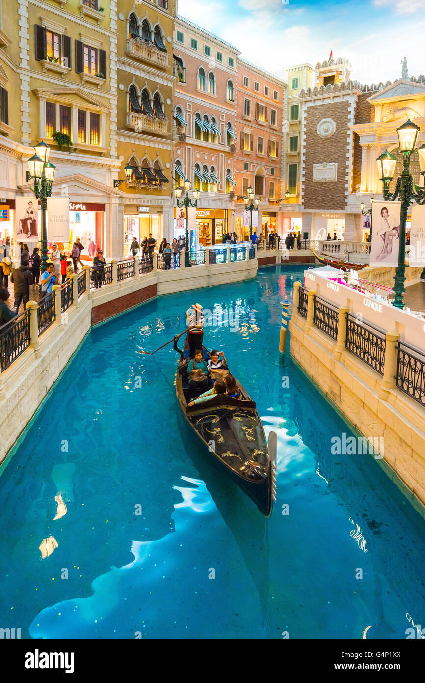 Macau, China - March 12, 2016: : The Venetian Macao Resort Hotel is one of the world's top gambling destinations. - Stock Image