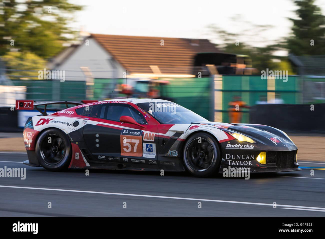 Le Mans Circuit, Le Mans, France. 18th June, 2016. Le Mans 24 Hours Race as the sun sets. Team AAI Chevrolet Corvette - Stock Image