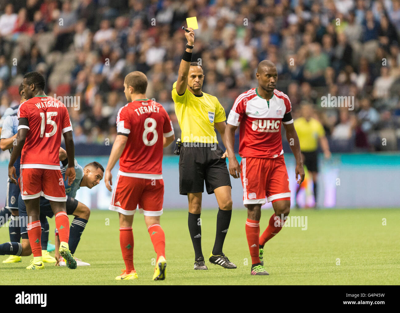 Vancouver, Canada. 18 June, 2016. New England Revolution defender Jose Goncalves (23) getting a yellow card. Vancouver - Stock Image