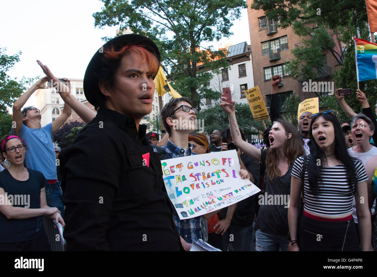 New York, USA. 18th June 2016. Demonstrators rally in front of Stonewall Inn. Members and supporters of the LGBT - Stock Image