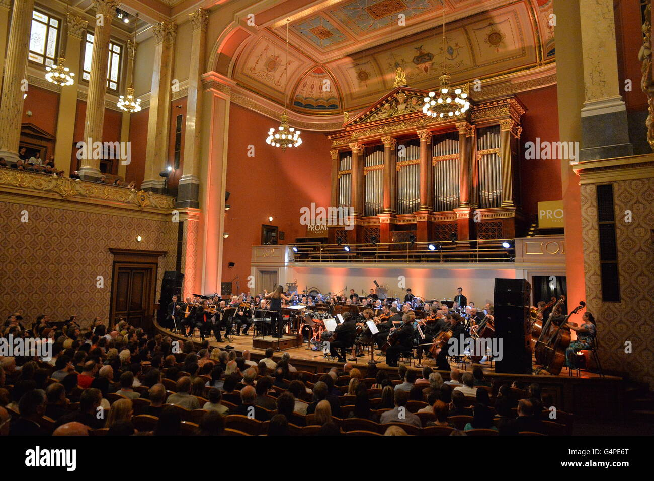 Czech National Symphonic Orchestra plays 'Musics by Frank Zappa' within Prague Proms music festival. Sarah - Stock Image