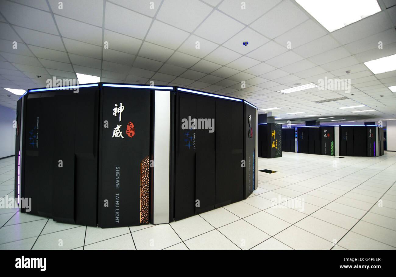 Wuxi, China. 20th June, 2016. Sunway TaihuLight, a new Chinese supercomputer, in Wuxi, east China's Jiangsu - Stock Image