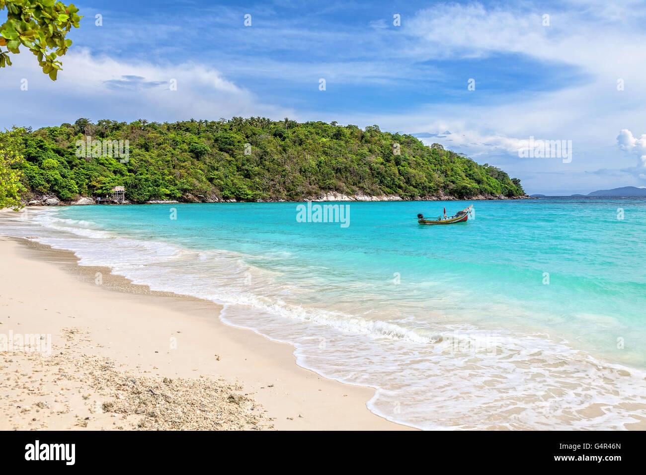 Turquoise waves on the island of Ko Racha Yai. Thai Phuket Province Stock Photo