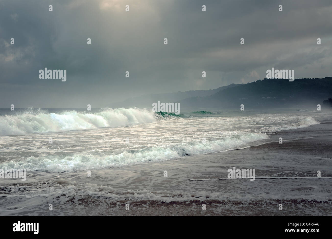 Tropical storm on the island of Phuket in Thailand - Stock Image