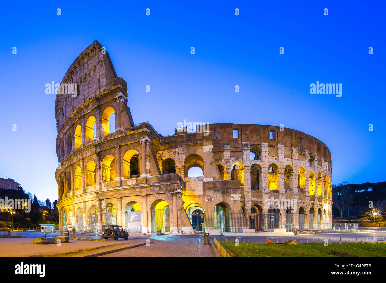 Colosseum at night in Rome, Italy. - Stock Image