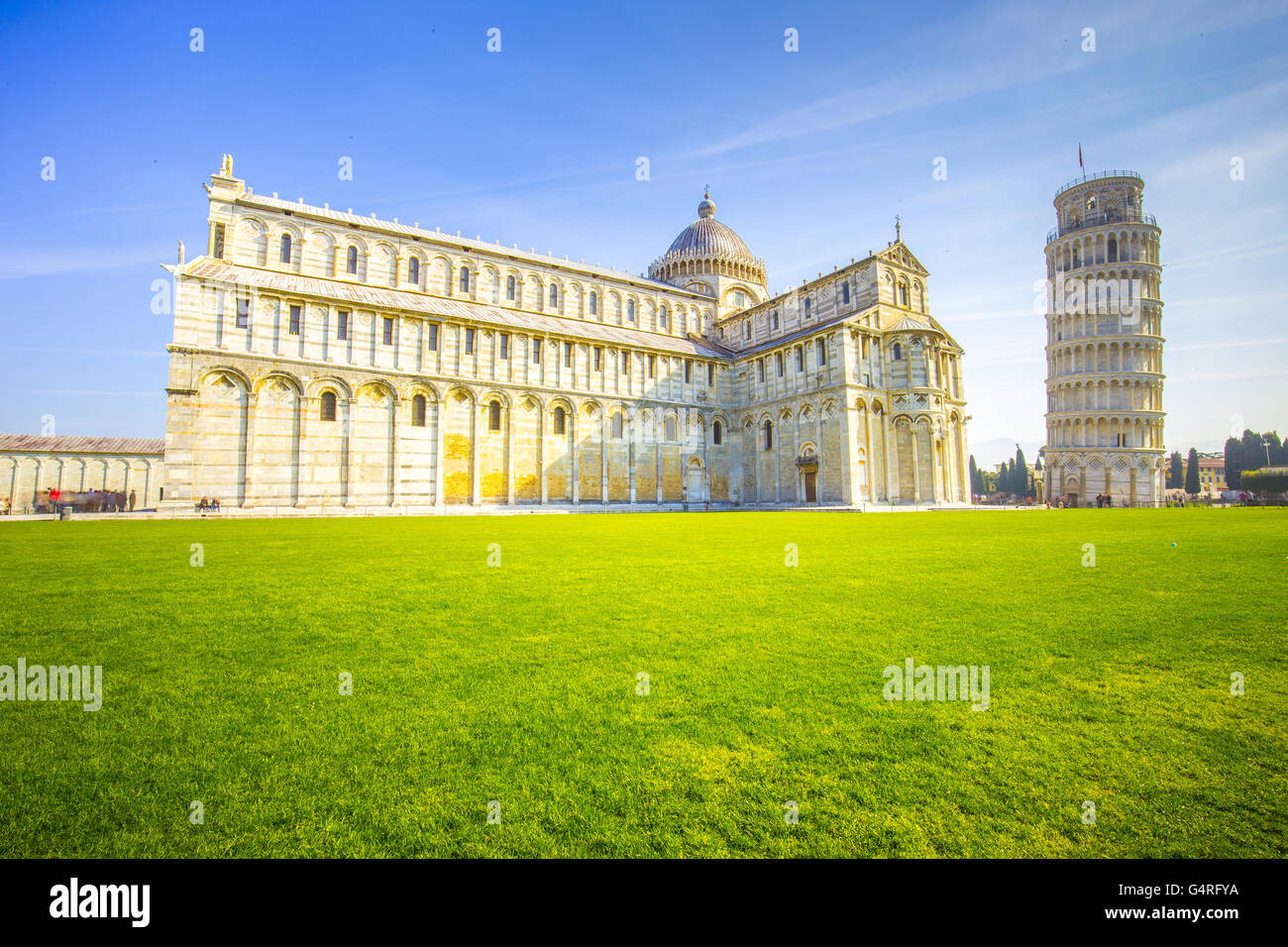 The Leaning Tower of Pisa in Italy. Stock Photo