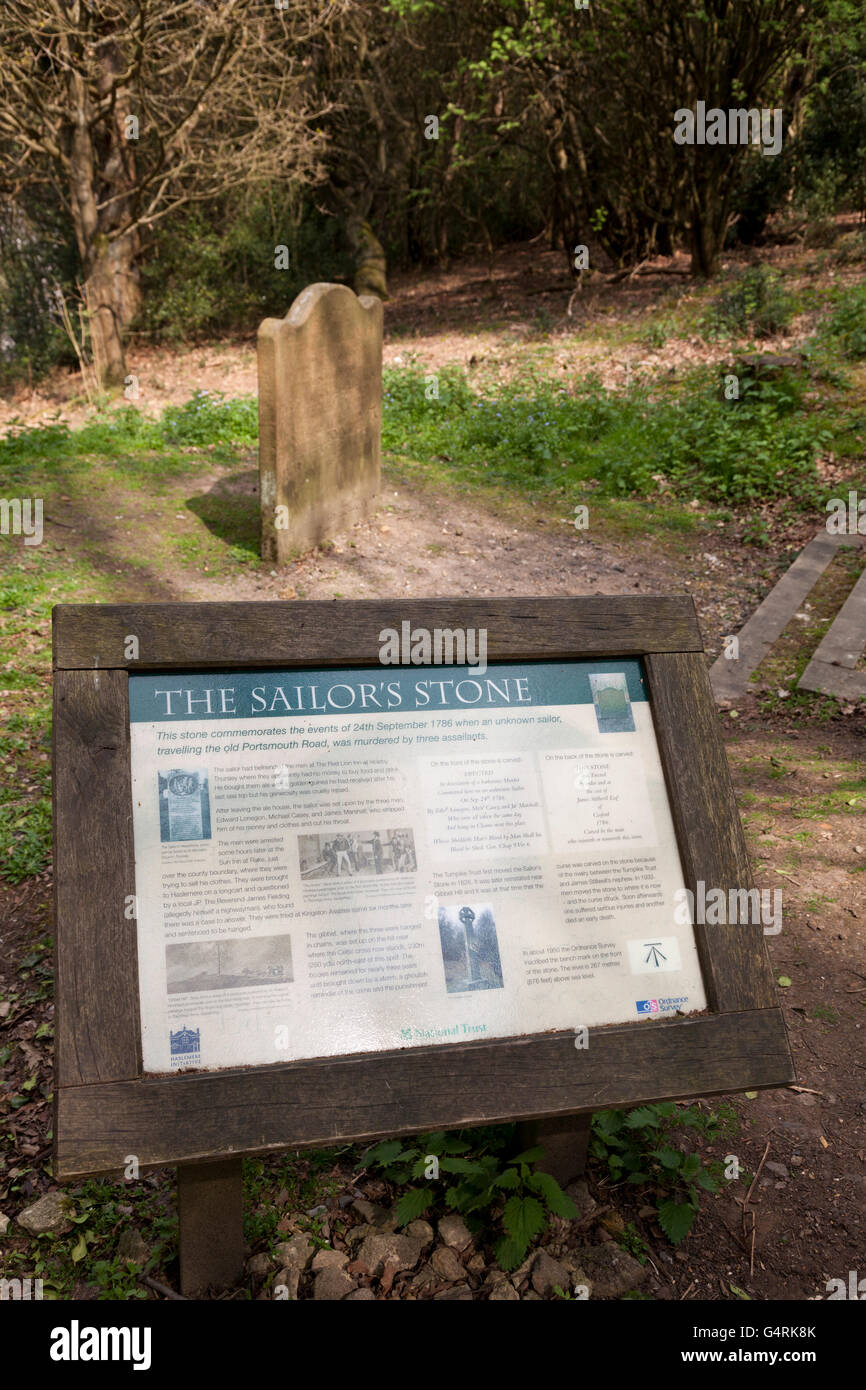 The Sailor's Stone commerating the murder in 1786, at Hindhead, Surrey, England, United Kingdom, Europe - Stock Image