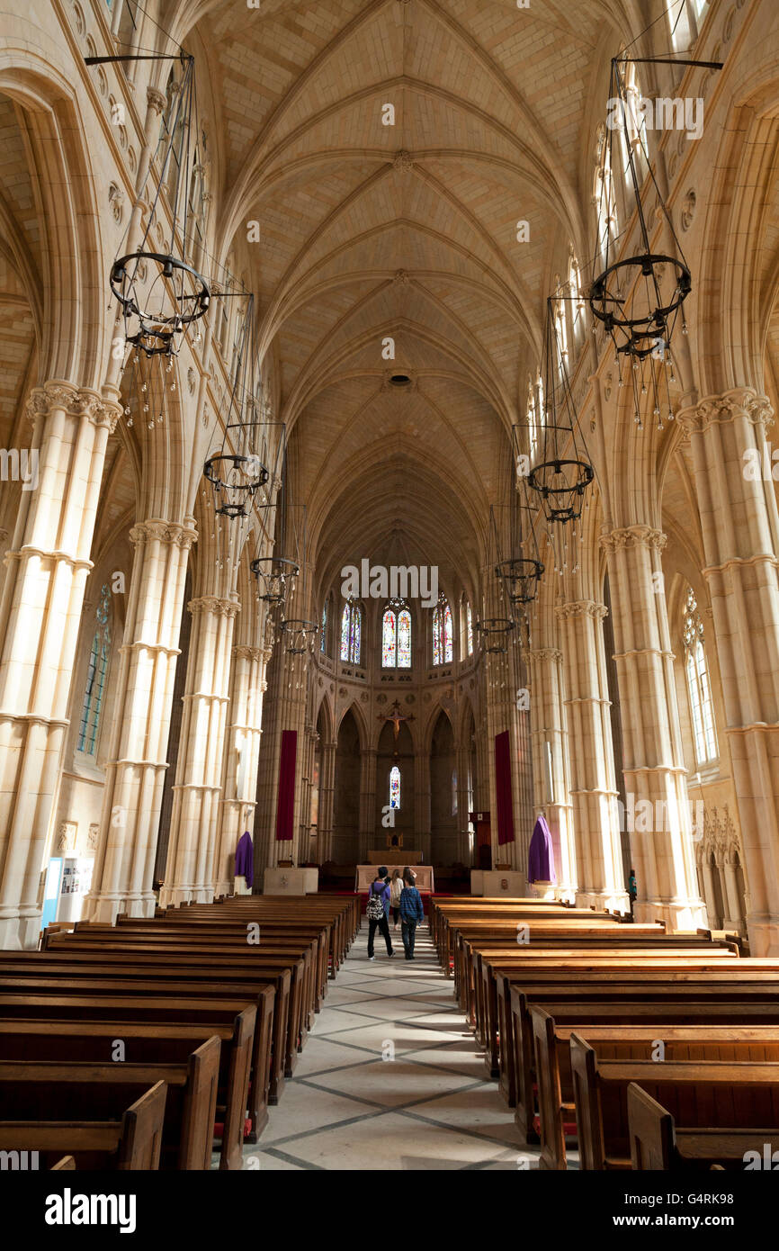 Interior of the Cathedral Church of Our Lady and St Philip Howard, main aisle, Arundel, West Sussex, England, United - Stock Image