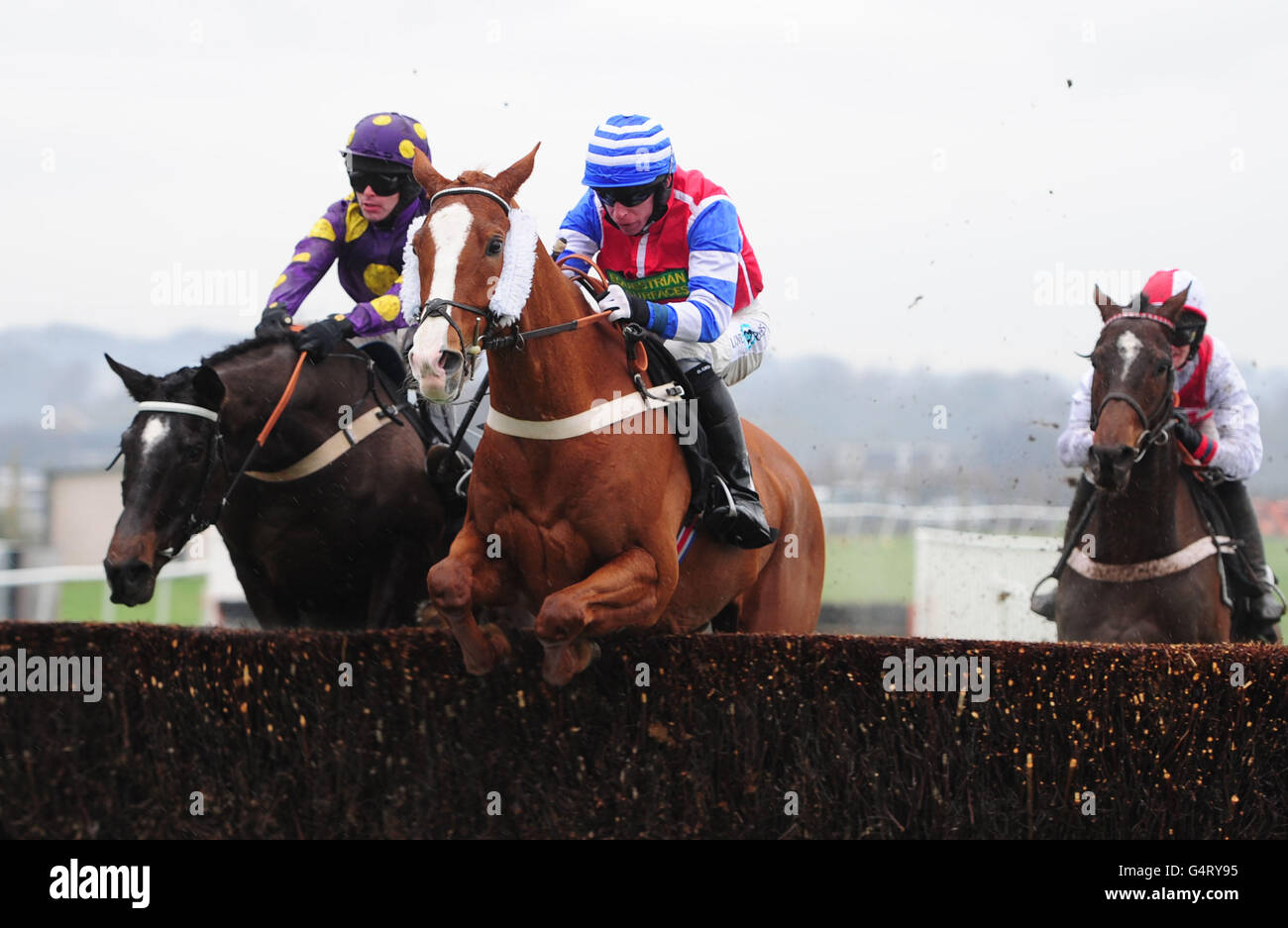 Christmas Horse Racing.Horse Racing Christmas Raceday Plumpton Racecourse Stock