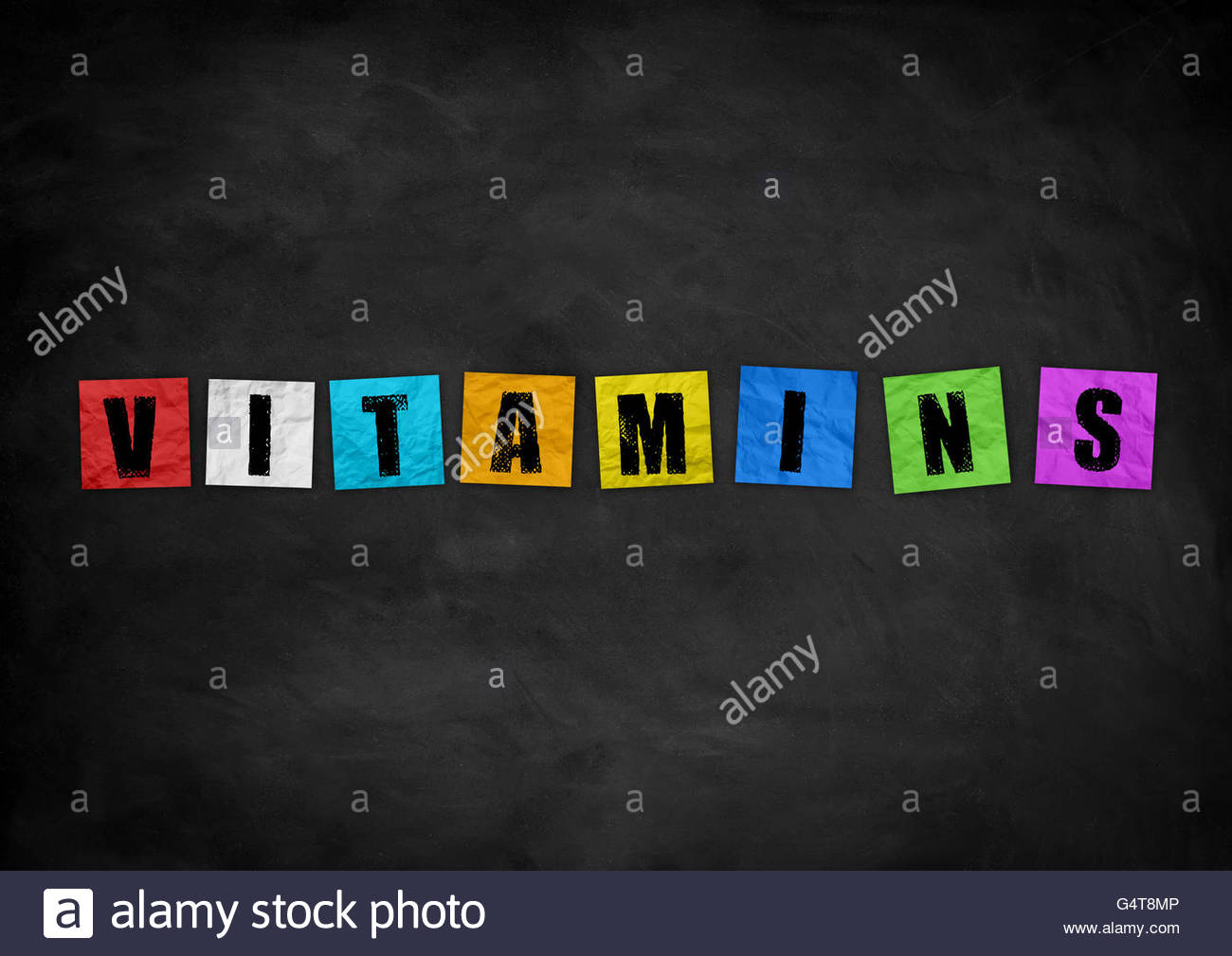 Vitamins - chalkboard concept - Stock Image