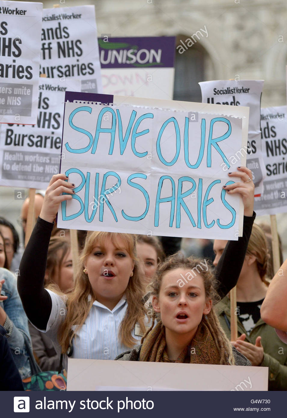 File photo dated 02/12/15 of student midwives and nurses protesting over the scrapping of bursaries outside the - Stock Image